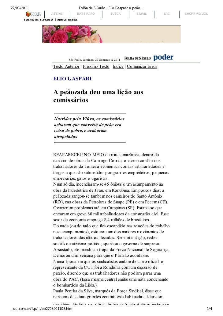 27/03/2011                             Folha de S.Paulo - Elio Gaspari: A peão…                      ASSINE          BATE-...