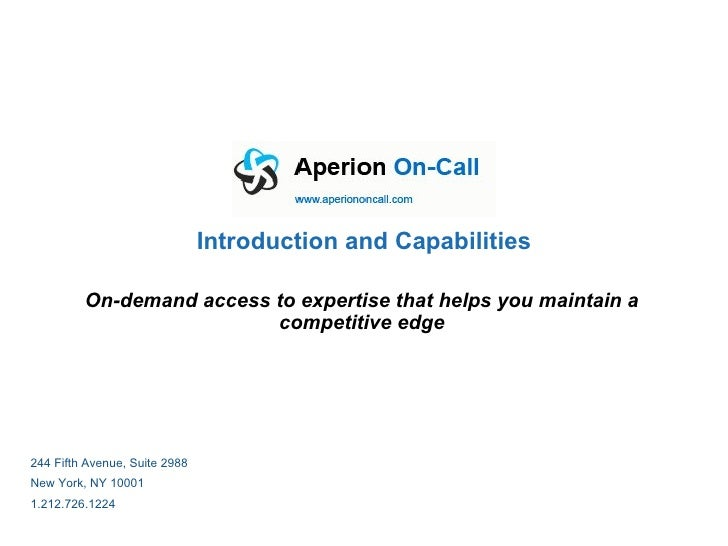 Aperion On Call Capabilities