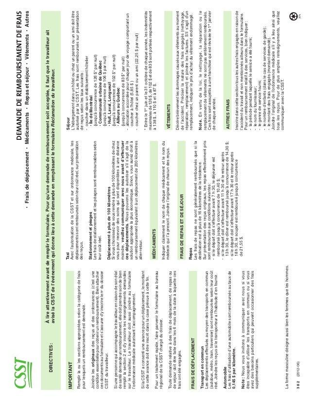 DEMANDE DE REMBOURSEMENT DE FRAIS                                      À lire attentivement avant de remplir le formulaire...