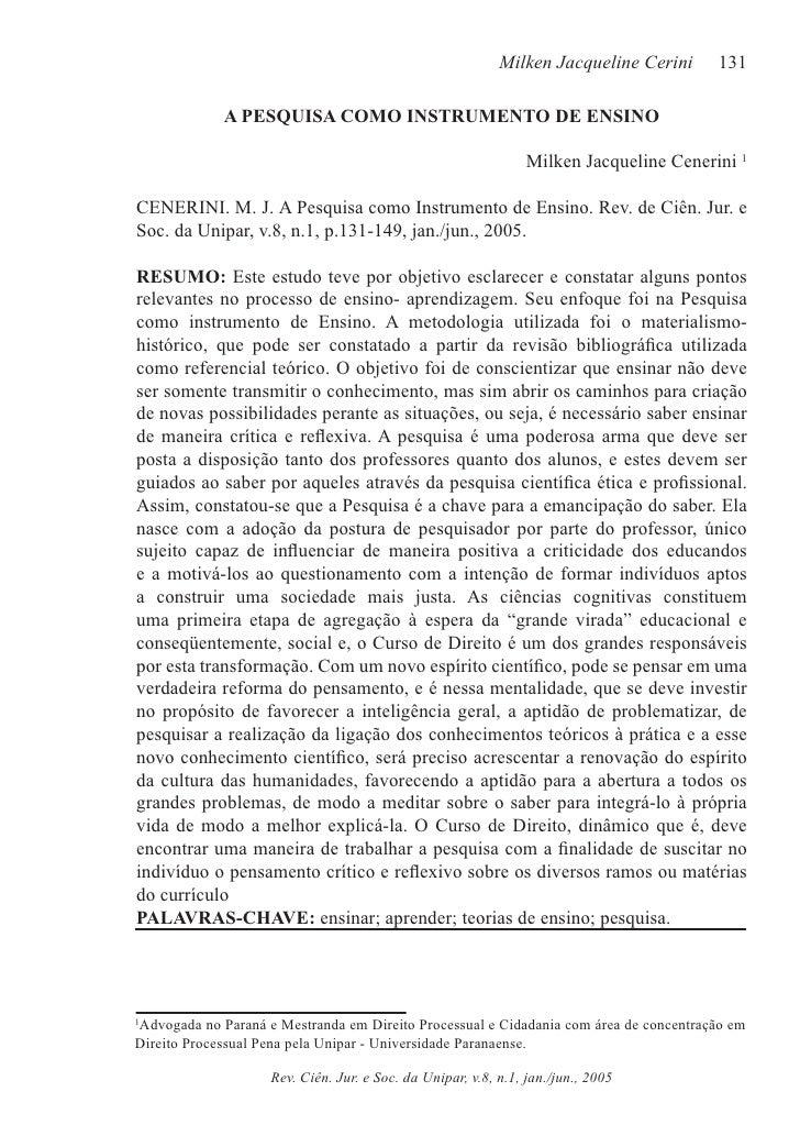 Milken Jacqueline Cerini     131             A PESQUISA COMO INSTRUMENTO DE ENSINO                                        ...