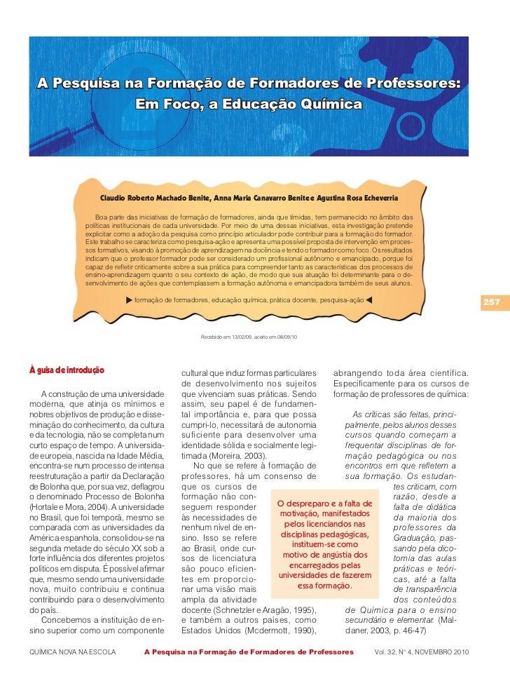 A pesquisa na formação de formadores de professores