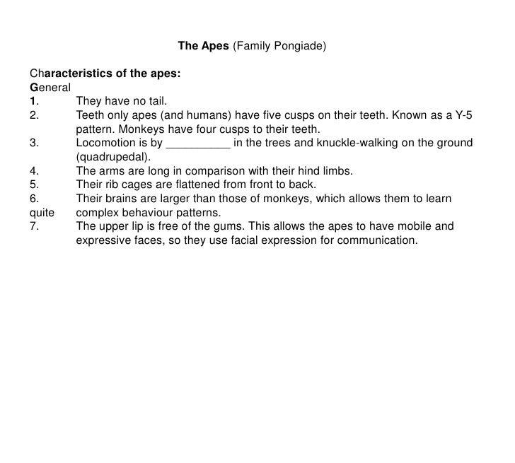 The Apes (Family Pongiade)<br />Characteristics of the apes:<br />General<br />1.They have no tail.<br />2.Teeth only ap...