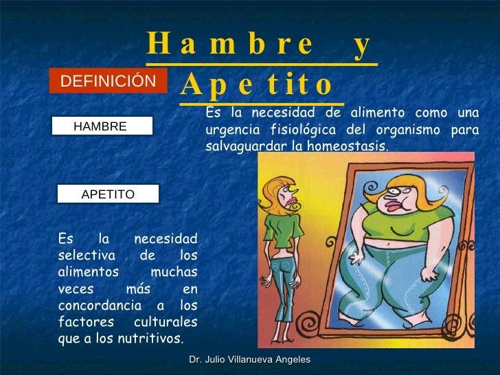 Hambre  y Apetito DEFINICIÓN HAMBRE  Es la necesidad de alimento como una urgencia fisiológica del organismo para salvagua...