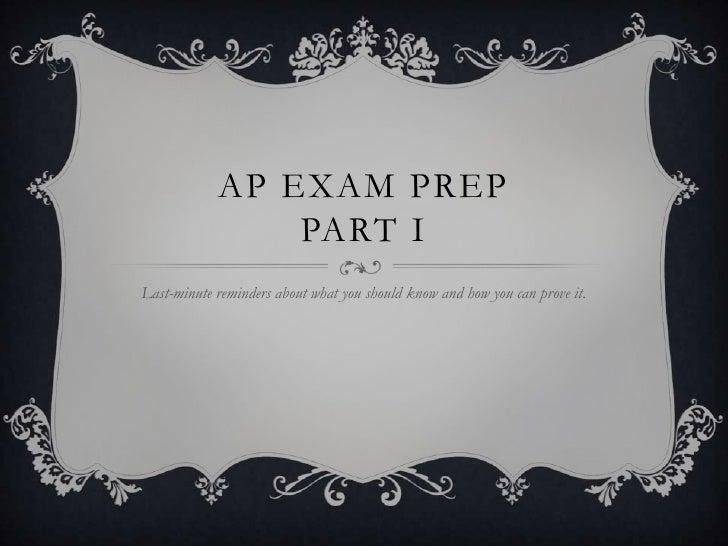 AP Exam Prep Part 1