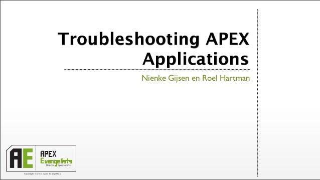 Copyright © 2013 Apex EvangelistsTroubleshooting APEXApplicationsNienke Gijsen en Roel Hartman