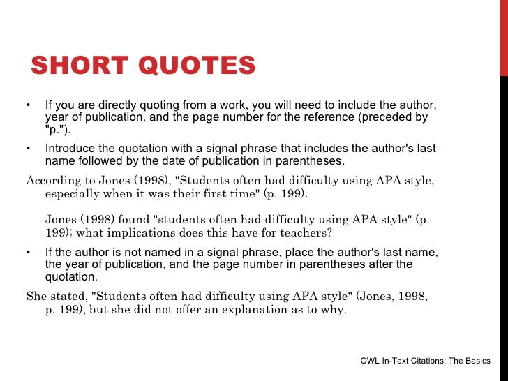 apa style quotes If you decide to quote or paraphrase wikipedia text (despite all the warnings  above  citation in apa style, as recommended by the american psychological .