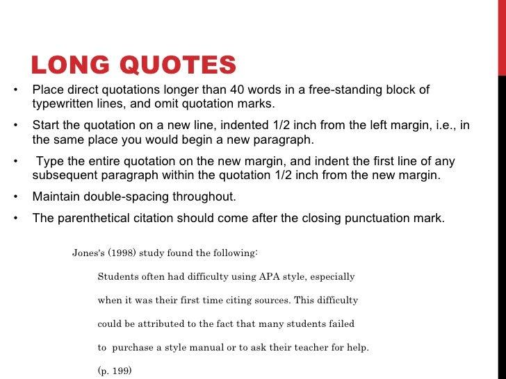 Apa long quotes