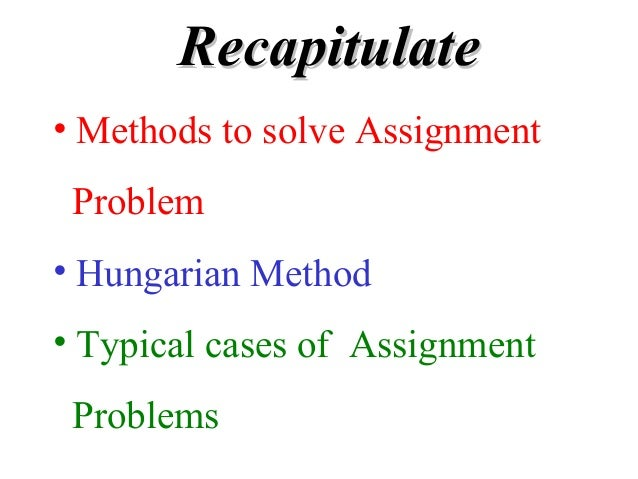 Hungarian method solving assignment problem