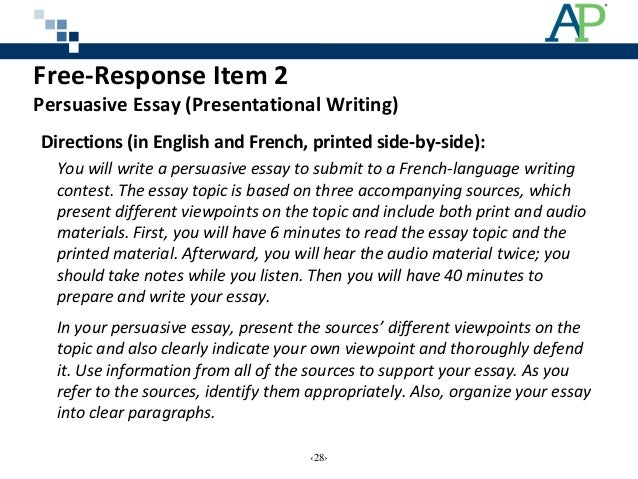 ap french persuasive essay prompts Ap french essay topics ap french essay topics w 185th street zip 10033 vietnam research paper thesis need someone to make my dissertation hypothesis on literature now.
