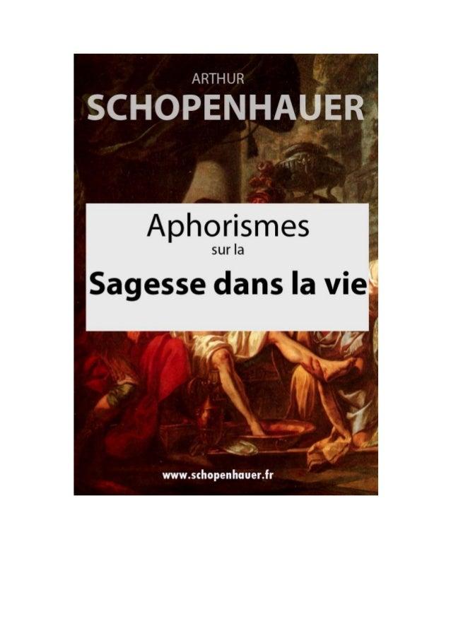 ARTHUR SCHOPENHAUER  APHORISMES SUR LA  SAGESSE DANS LA VIE PARERGA ET PARALIPOMENA Traduit en français par J.-A. Cantacuz...