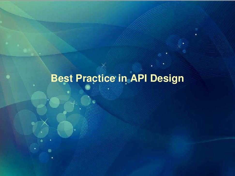Best Practice in API Design