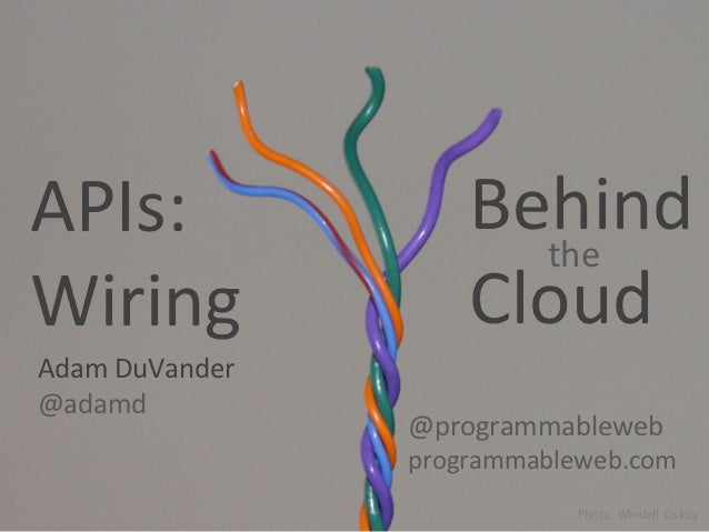 APIs:	                     Behind	                                the	  Wiring	                    Cloud	  Adam	  DuVander...