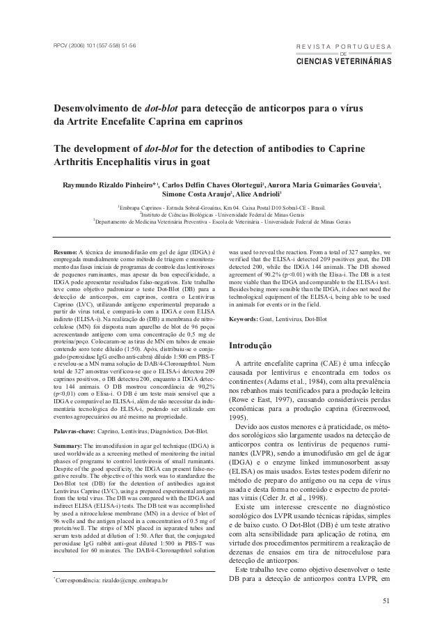 R E V I S T A P O R T U G U E S A CIÊNCIAS VETERINÁRIAS DE Desenvolvimento de dot-blot para detecção de anticorpos para o ...