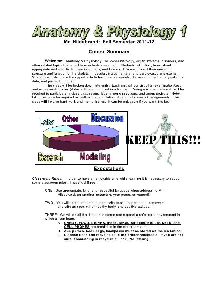 Mr. Hildebrandt, Fall Semester 2011-12                                   Course Summary         Welcome! Anatomy & Physiol...