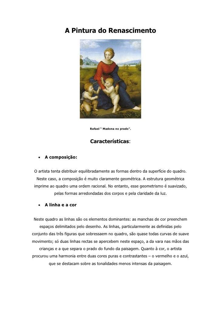 """A Pintura do Renascimento                                     Rafael """" Madona no prado"""".                                  ..."""