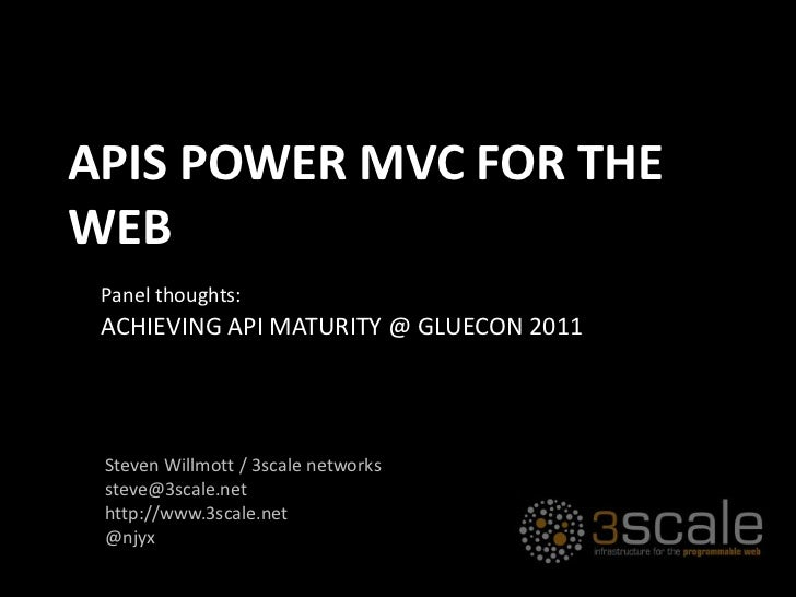 APIs power MVC for the WEb<br />Panel thoughts:<br />Achieving API Maturity @ Gluecon 2011<br />Steven Willmott / 3scale n...