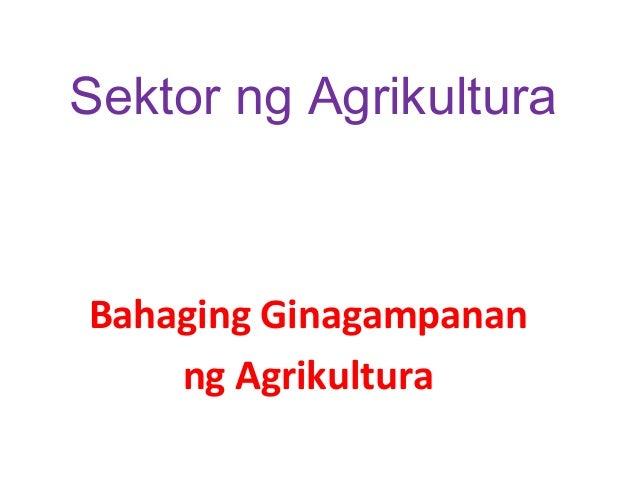 Sektor ng Agrikultura  Bahaging Ginagampanan ng Agrikultura
