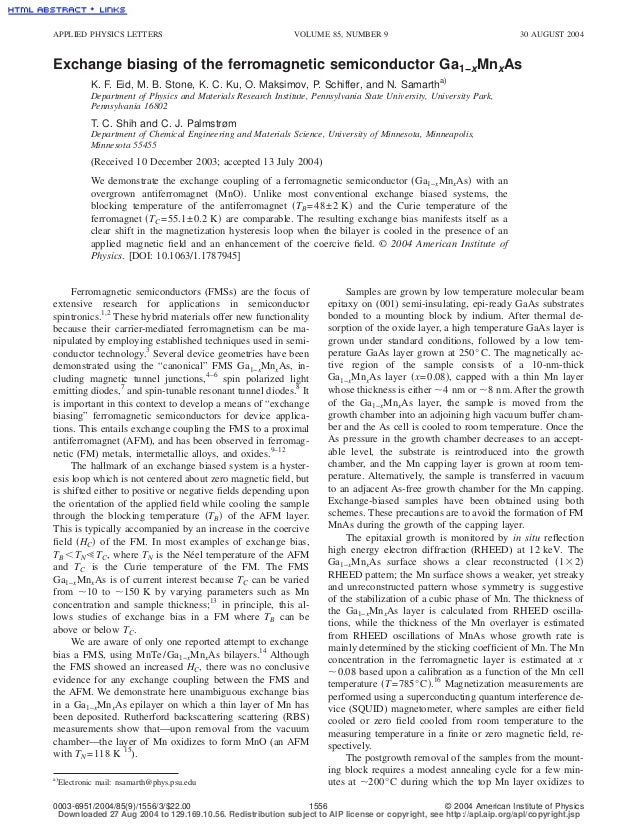 APPLIED PHYSICS LETTERS                                       VOLUME 85, NUMBER 9                                    30 AU...