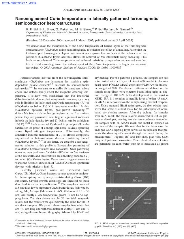 APPLIED PHYSICS LETTERS 86, 152505 ͑2005͒Nanoengineered Curie temperature in laterally patterned ferromagneticsemiconducto...