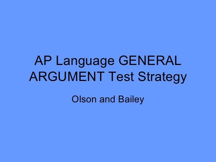 Ap Language General Argument Test Strategy