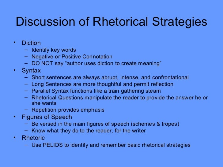 rhetorical essay strategies Rhetorical analysis essay (rhetorical situation) what other possible arrangement strategies might make more of the material and develop arguments more fully.
