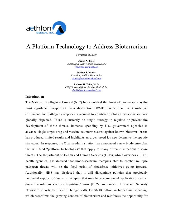 A Platform Technology to Address Bioterrorism                                        November 18, 2010                    ...