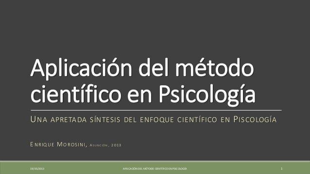 Aplicación del método científico en psicología