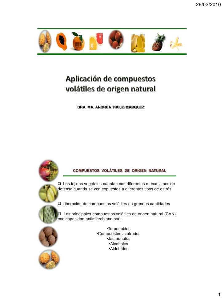 Aplicac ia n de compuestos volatiles