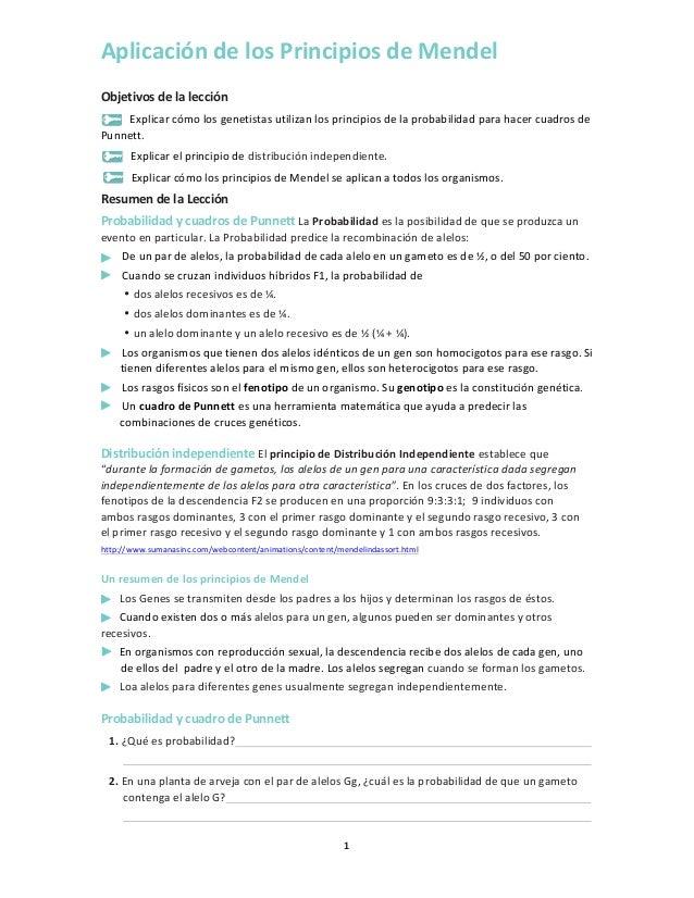 Aplicación  de  los  Principios  de  Mendel   Objetivos  de  la  lección   Explicar  cómo  los  ...