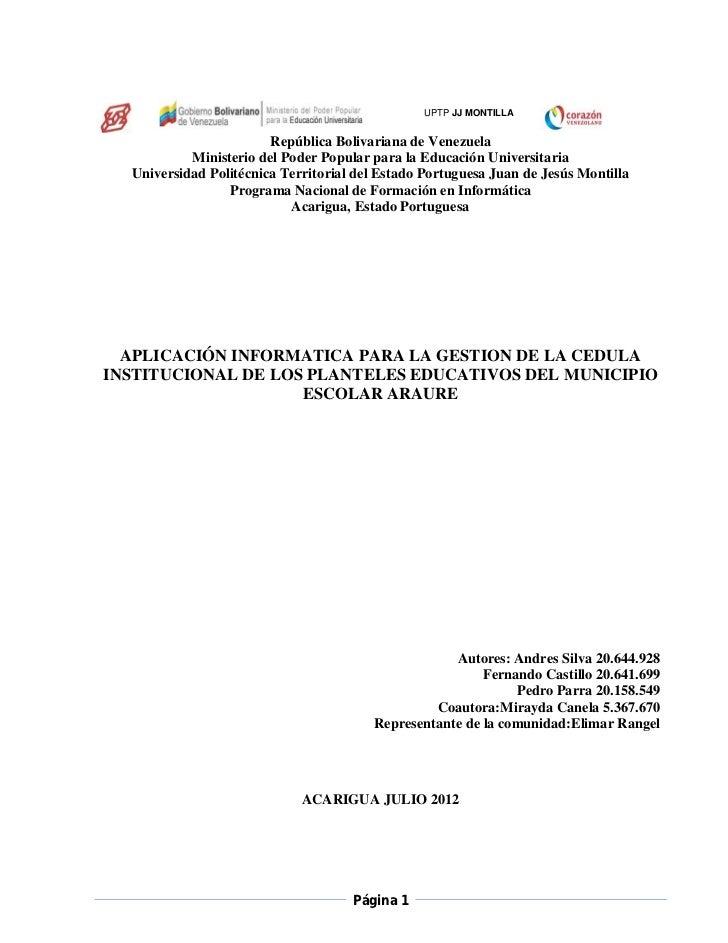 UPTP JJ MONTILLA                        República Bolivariana de Venezuela           Ministerio del Poder Popular para la ...
