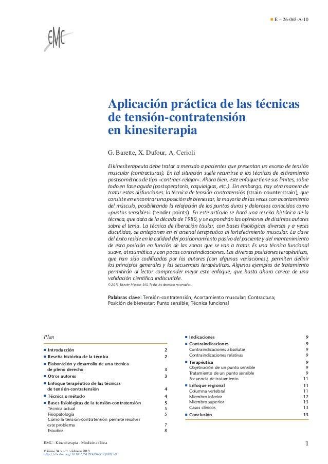 E – 26-065-A-10  Aplicación práctica de las técnicas de tensión-contratensión en kinesiterapia G. Barette, X. Dufour, A. C...