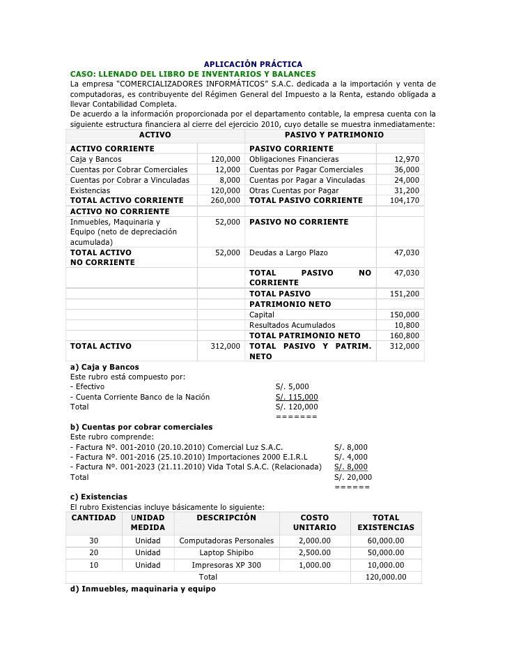 """APLICACIÓN PRÁCTICACASO: LLENADO DEL LIBRO DE INVENTARIOS Y BALANCESLa empresa """"COMERCIALIZADORES INFORMÁTICOS"""" S.A.C. ded..."""