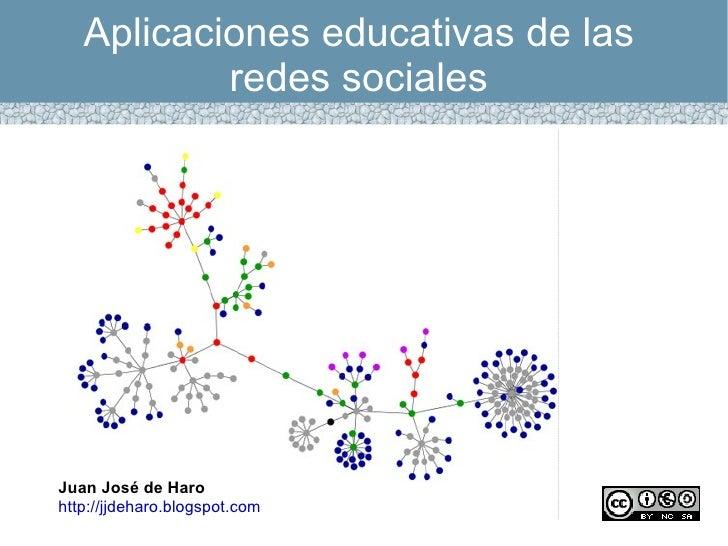 Aplicaciones educativas de las           redes socialesJuan José de Harohttp://jjdeharo.blogspot.com