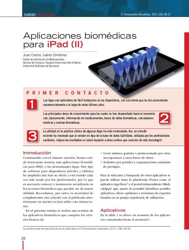 nuevas tecnologías                                                                     El Farmacéutico Hospitales. 2012; 2...