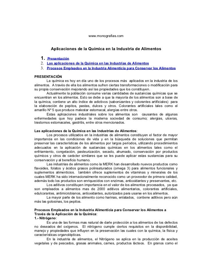 Aplicaciones de la quimica en la industria de alimentos