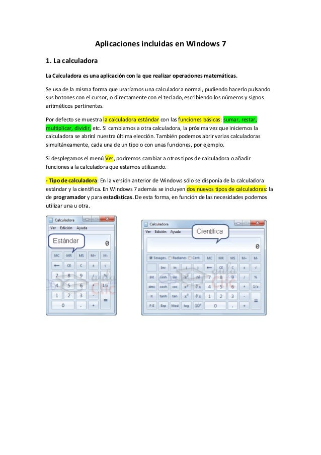 Aplicaciones incluidas en windows 7