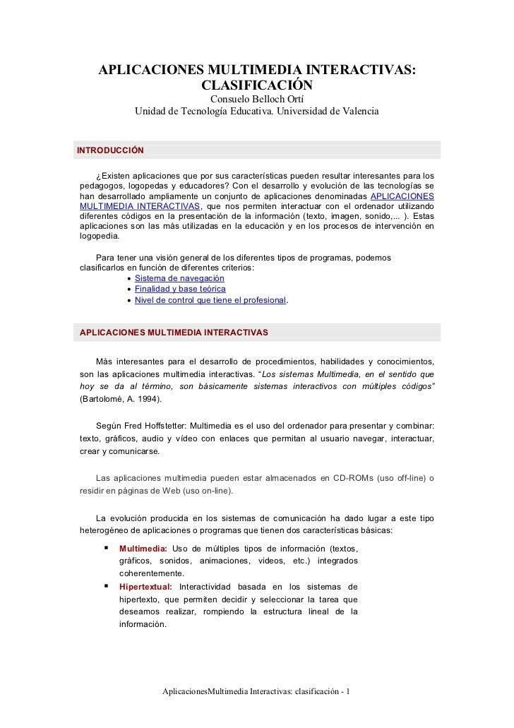 APLICACIONES MULTIMEDIA INTERACTIVAS:                CLASIFICACIÓN                              Consuelo Belloch Ortí     ...
