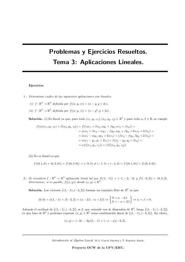 Problemas y Ejercicios Resueltos.                        Tema 3: Aplicaciones Lineales.    Ejercicios1.- Determinar cu´les...