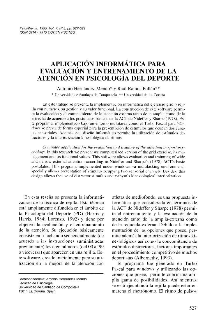 Aplicacion Informatica Para La Evaluacion Y Entrenamiento De La AtencióN En La Psicologia Del Deporte