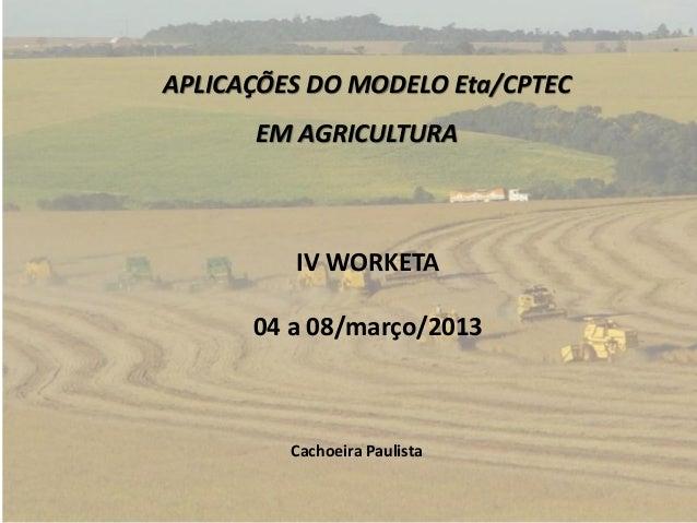 APLICAÇÕES DO MODELO Eta/CPTECEM AGRICULTURAIV WORKETA04 a 08/março/2013Cachoeira Paulista