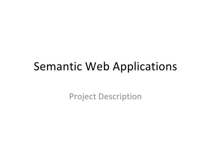 Semantic Web Applications Project Description