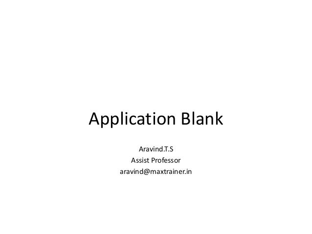 Aplication blank