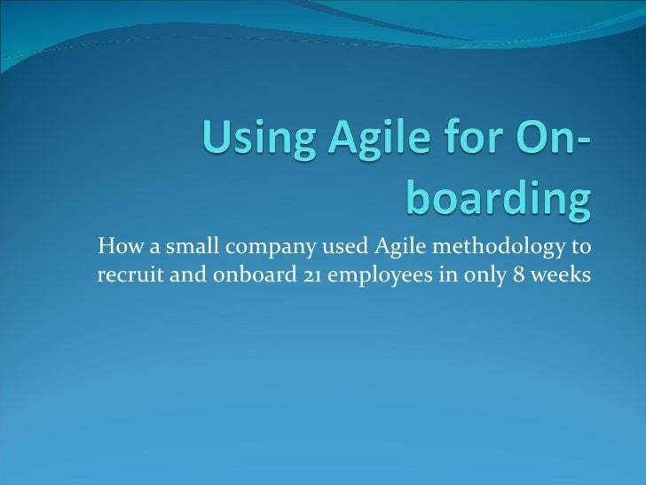 Using Agile for On-boarding
