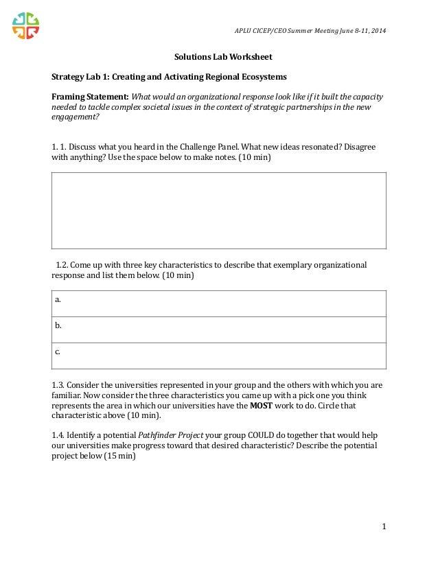 APLU CICEP CEO Solutions Lab Worksheet | June 2014
