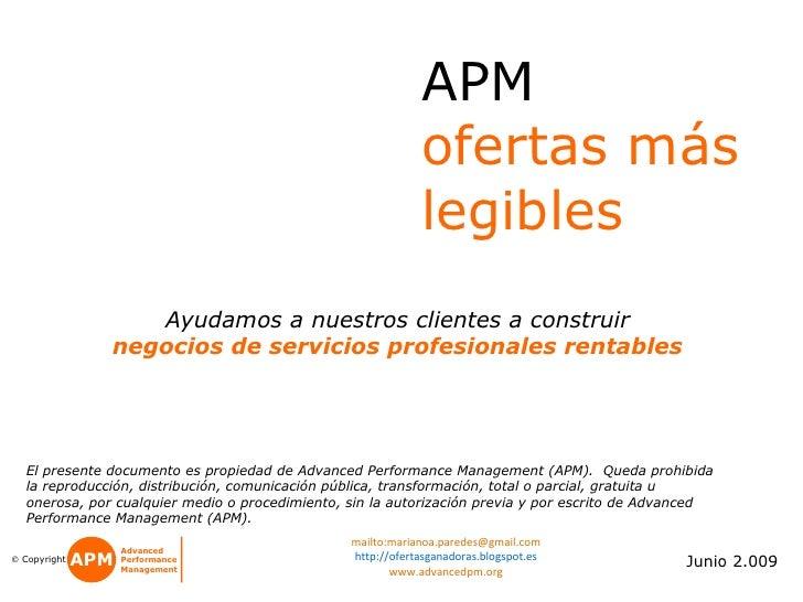 APM   Garantizar La Legibilidad De Ofertas y Propuestas Comerciales