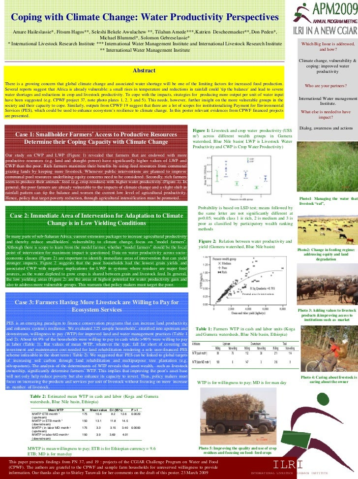 Coping with Climate Change: Water Productivity Perspectives     Amare Haileslassie*, Fitsum Hagos**, Seleshi Bekele Awulac...