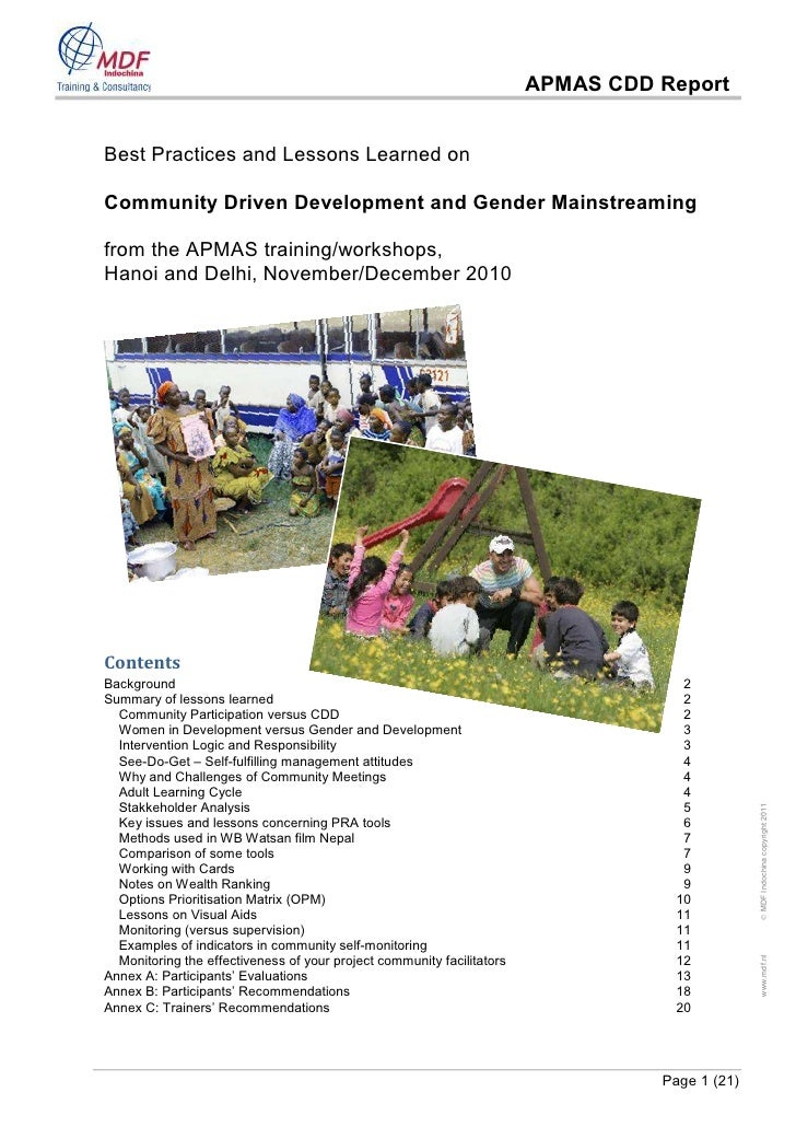 APMAS CDD ReportBest Practices and Lessons Learned onCommunity Driven Development and Gender Mainstreamingfrom the APMAS t...