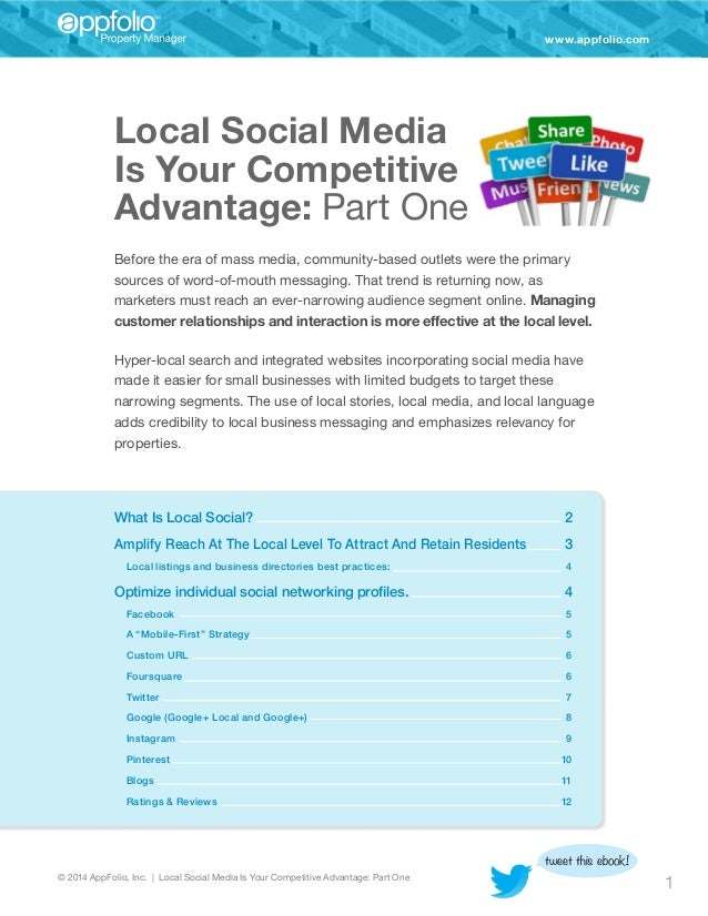 www.appfolio.com  Local Social Media Is Your Competitive Advantage: Part One Before the era of mass media, community-base...