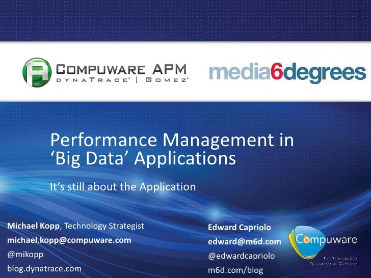 Performance Management in 'Big Data' Applications