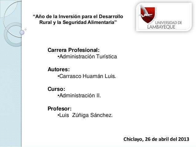 Carrera Profesional: •Administración Turística Autores: •Carrasco Huamán Luis. Curso: •Administración II. Profesor: •Luis ...